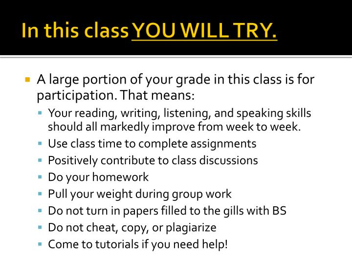 In this class you will try