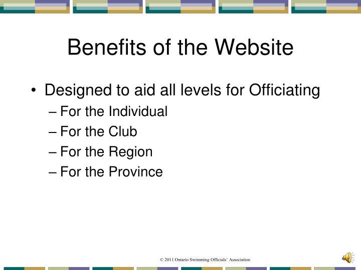 Benefits of the Website