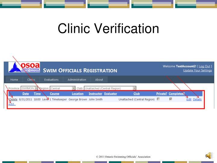 Clinic Verification