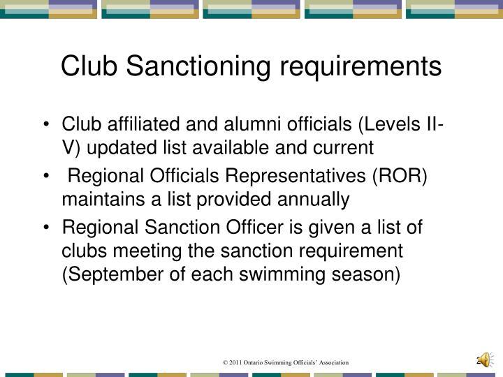 Club Sanctioning requirements