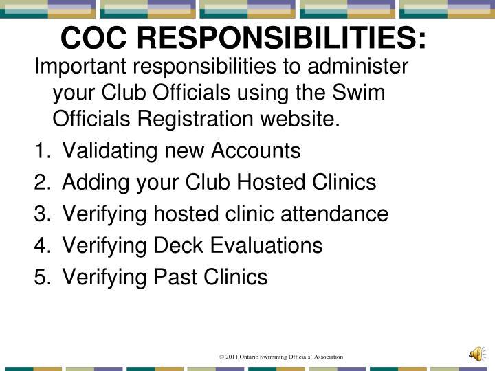 COC RESPONSIBILITIES: