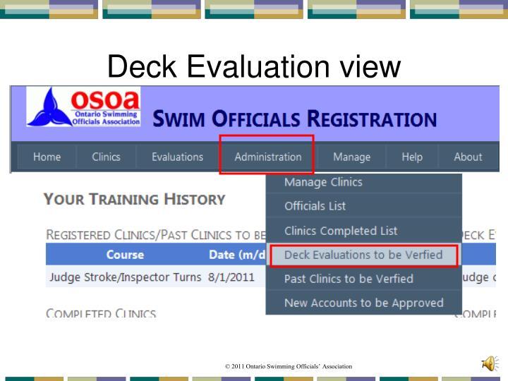 Deck Evaluation view
