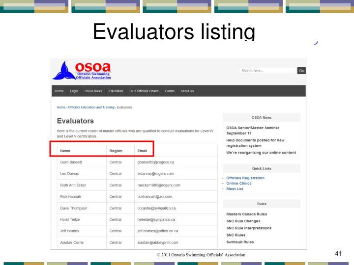 Evaluators listing