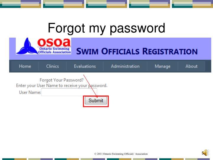 Forgot my password