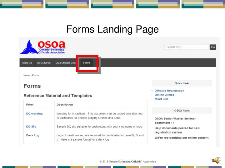 Forms Landing Page