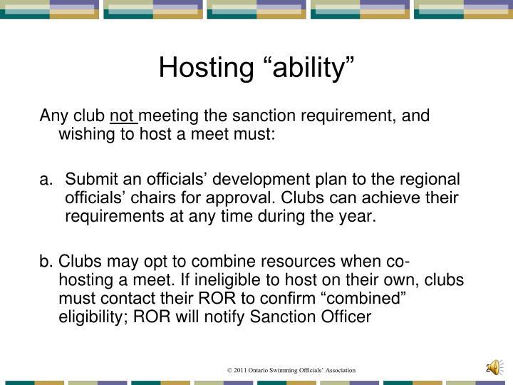 "Hosting ""ability"""