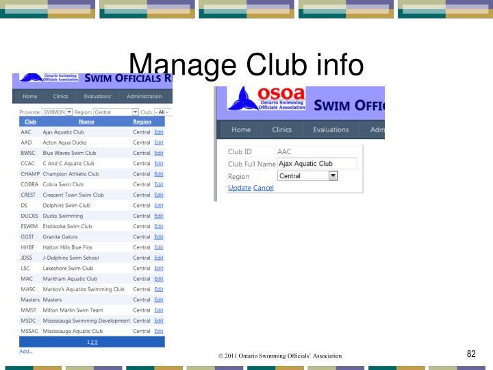 Manage Club info