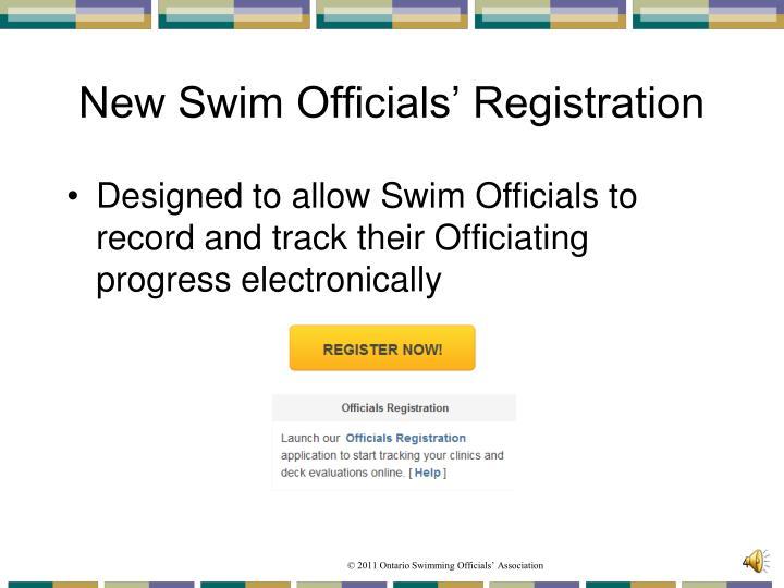 New Swim Officials' Registration
