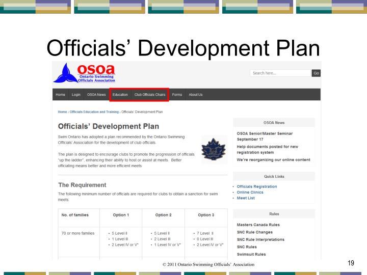 Officials' Development Plan