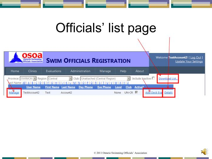 Officials' list page