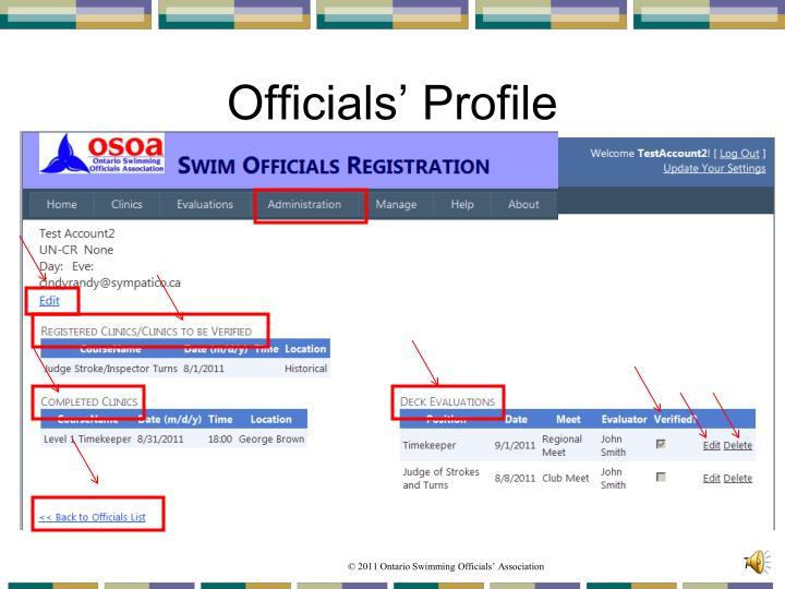 Officials' Profile