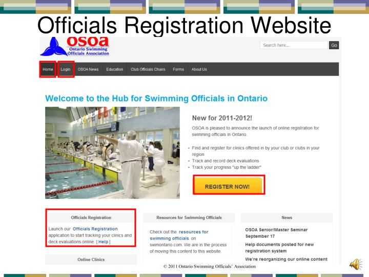 Officials Registration Website