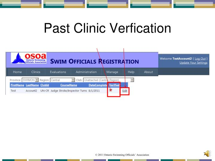 Past Clinic Verfication