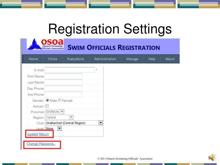 Registration Settings