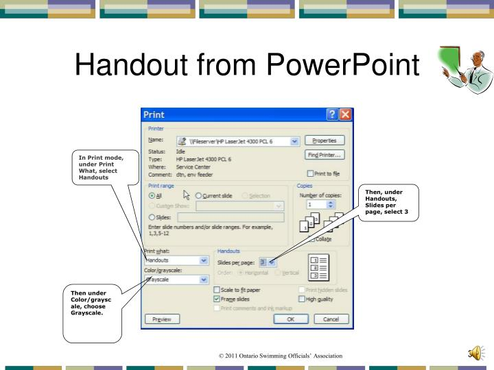 Handout from PowerPoint