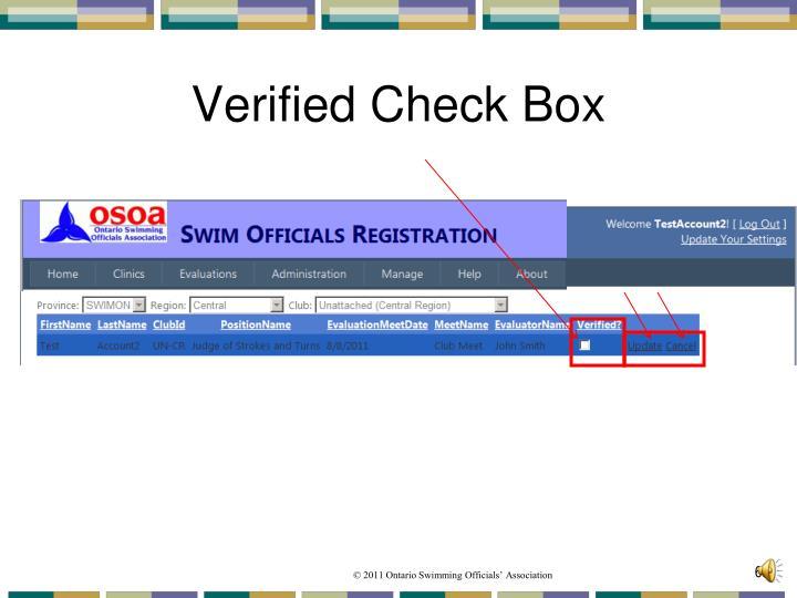 Verified Check Box