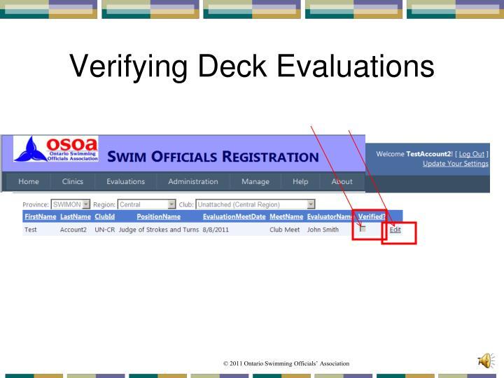 Verifying Deck Evaluations