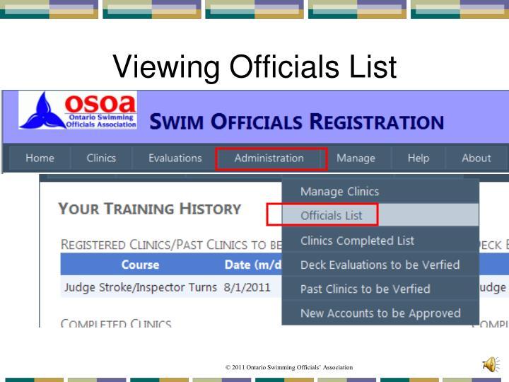 Viewing Officials List