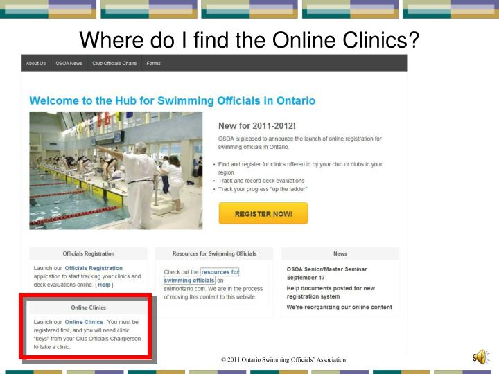 Where do I find the Online Clinics?