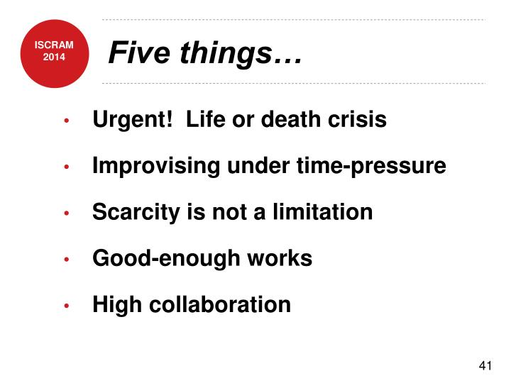 Five things…