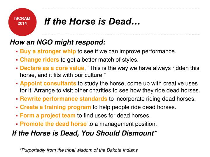 If the Horse is Dead…