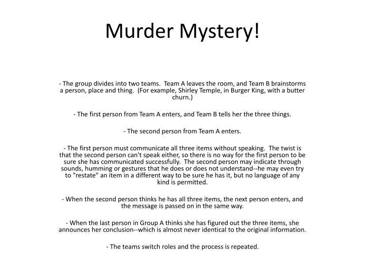 Murder Mystery!