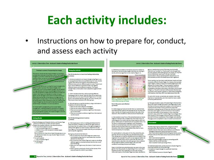 Each activity includes: