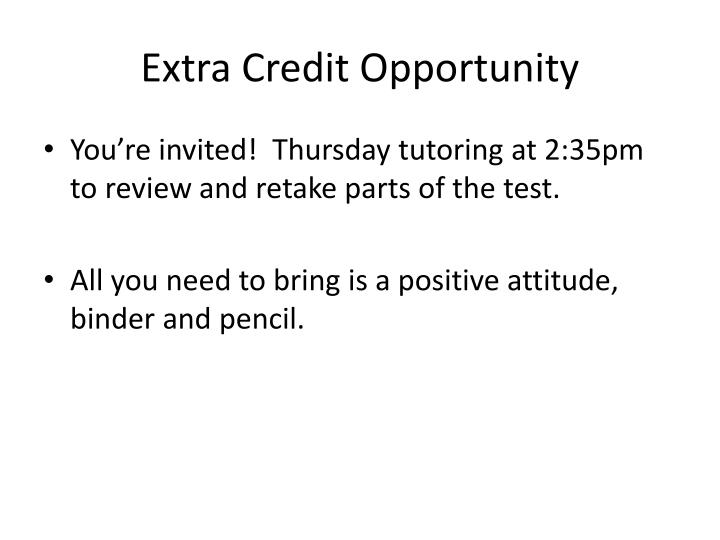 Extra Credit Opportunity
