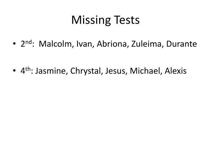 Missing Tests