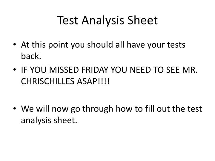 Test analysis sheet