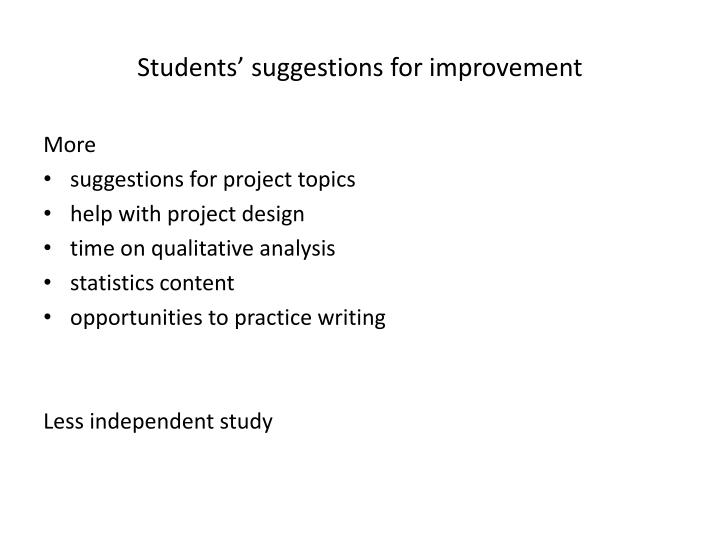 Students' suggestions for improvement