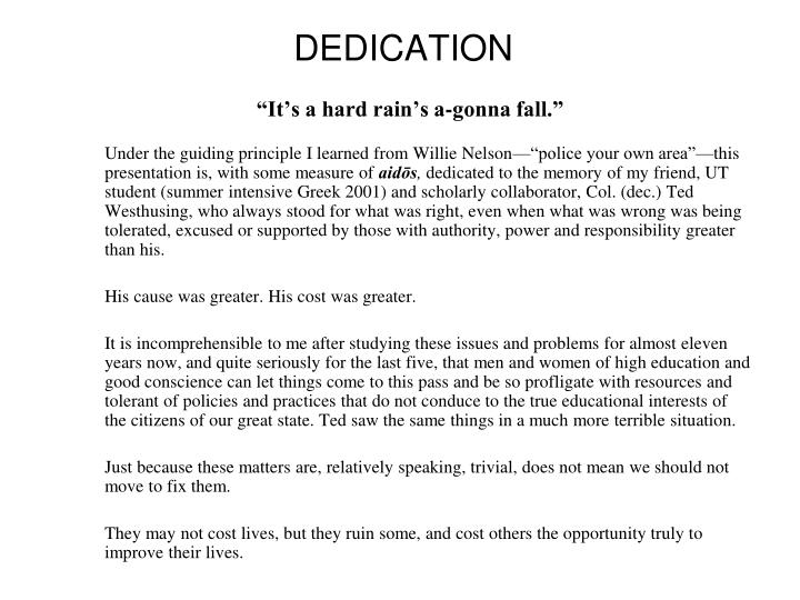 Dedication it s a hard rain s a gonna fall