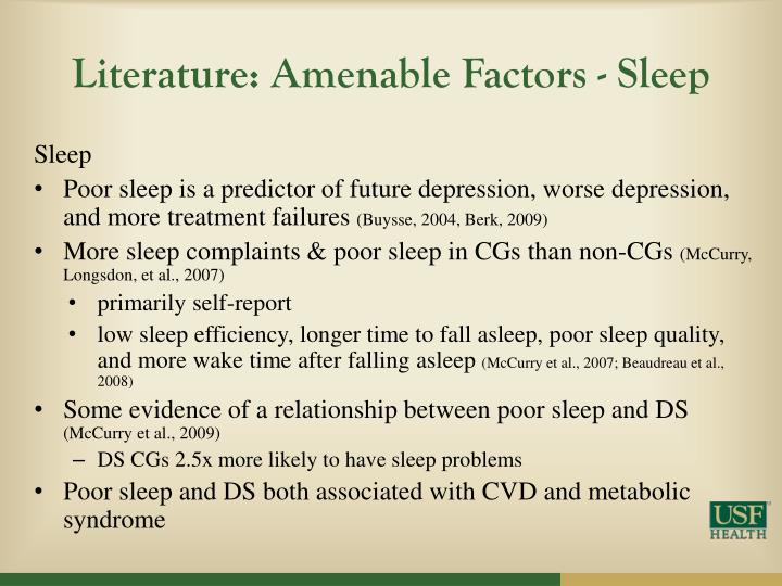 Literature: Amenable Factors - Sleep