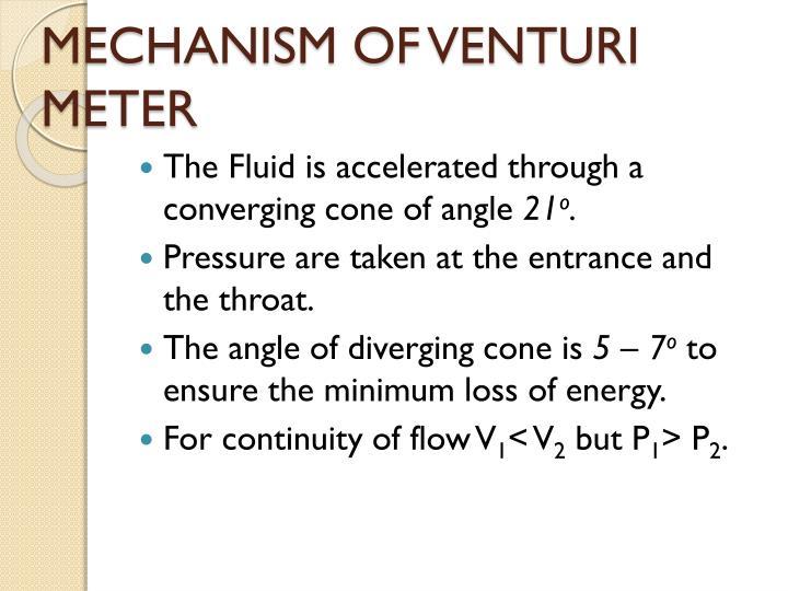 MECHANISM OF VENTURI METER