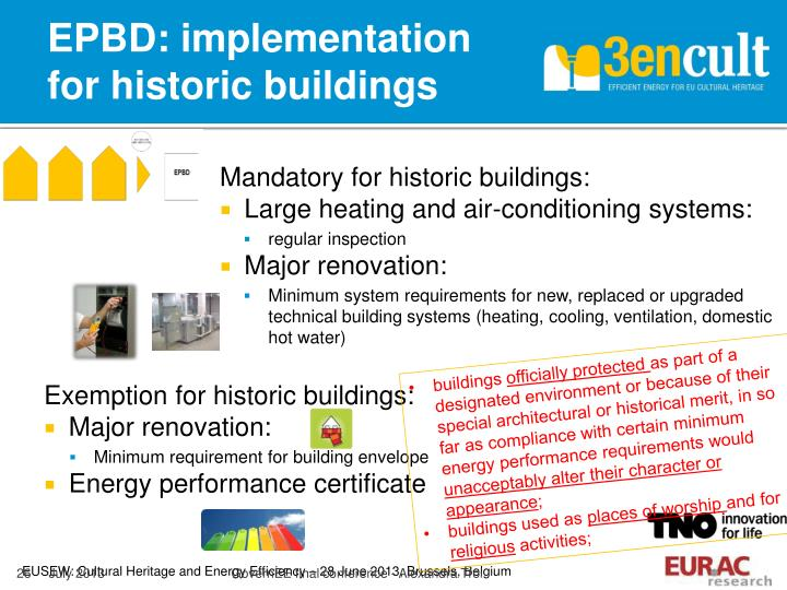 EPBD: implementation for historic buildings