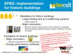 epbd implementation for historic buildings