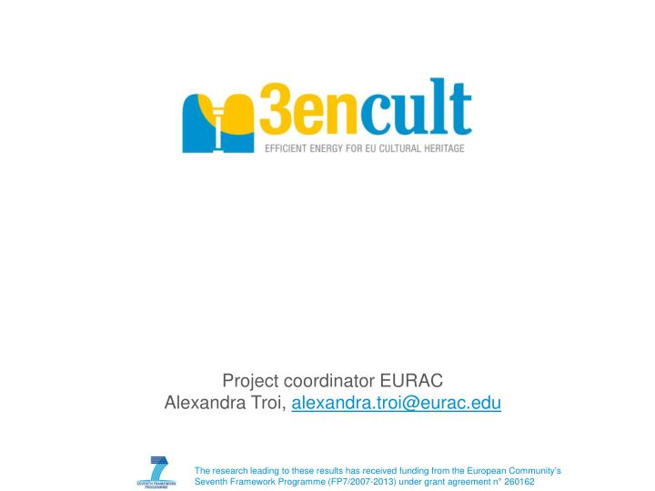 Project coordinator EURAC