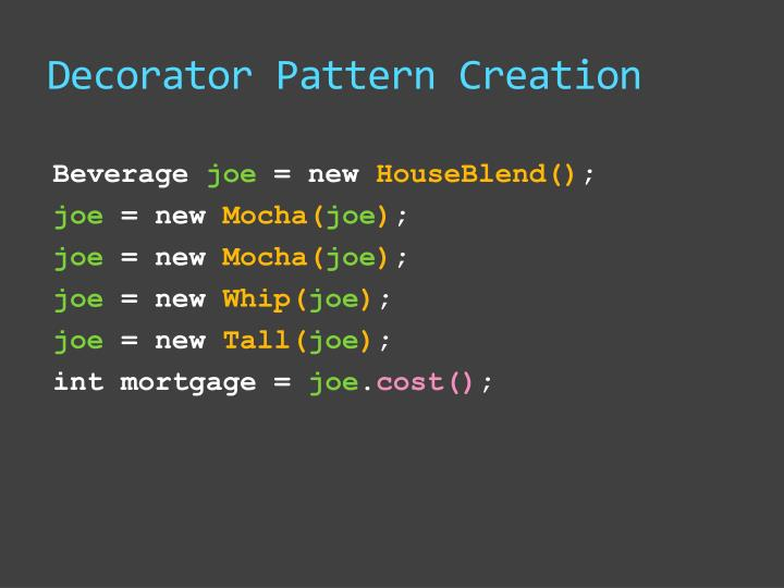 Decorator Pattern Creation