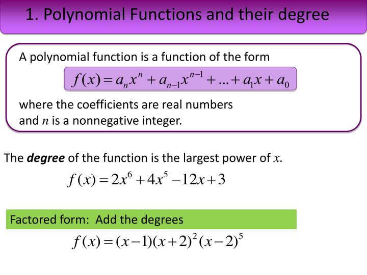 1. Polynomial Functions and their degree