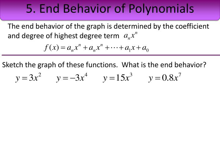 5. End Behavior of Polynomials