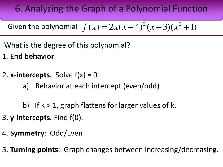 6. Analyzing the Graph of a Polynomial Function