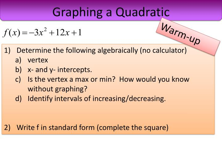 Graphing a quadratic