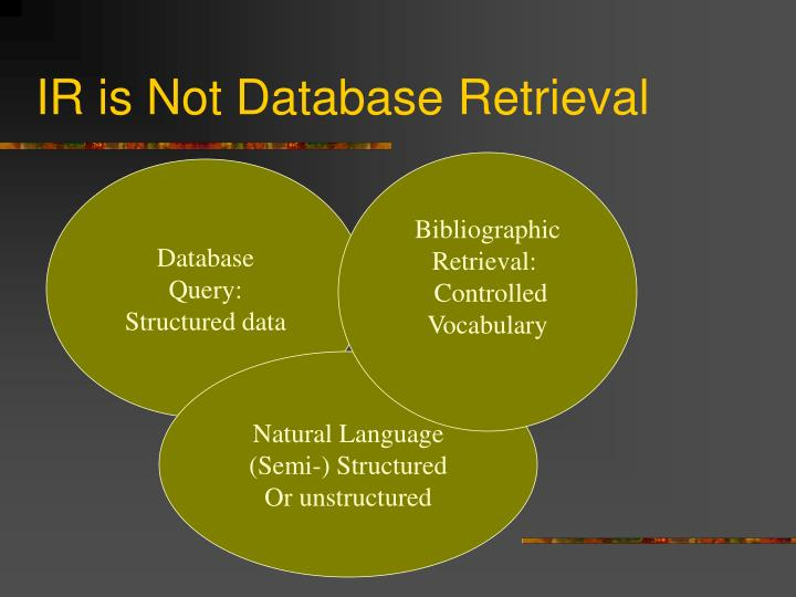 Ir is not database retrieval