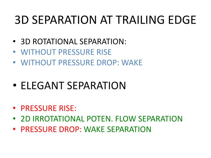 3D SEPARATION AT TRAILING EDGE