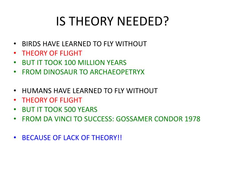 IS THEORY NEEDED?