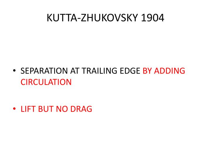 KUTTA-ZHUKOVSKY 1904