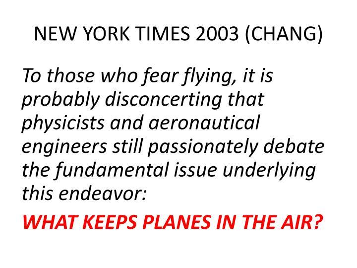 NEW YORK TIMES 2003 (CHANG)