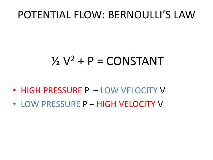 POTENTIAL FLOW: BERNOULLI'S LAW