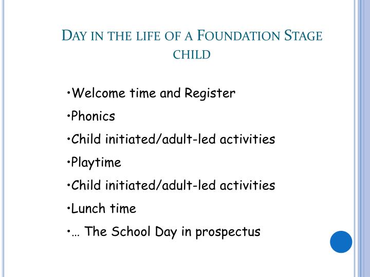 Day in the life of a Foundation Stage child