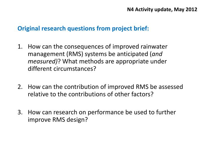 N4 activity update may 2012
